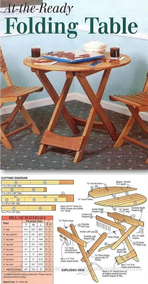 Folding Picnic Table Plans - Outdoor Furniture Plans and Projects - bill of material