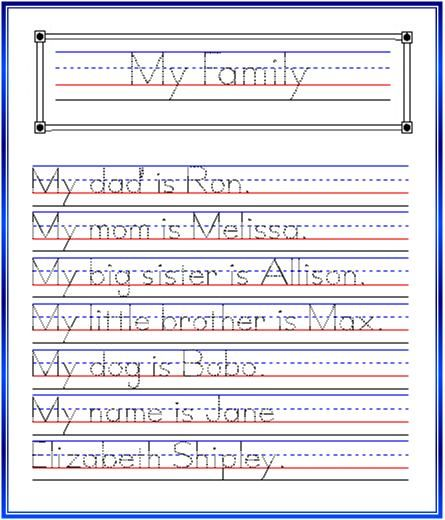 my family essay for kids in english   my family essays       weeks of handwriting week  my family this week have the kids