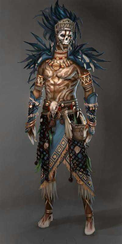 Character design and concept development - Guild Wars Voodoo Male YeeWu Character Concept, Character Art, Concept Art, Dnd Characters, Fantasy Characters, Fantasy Warrior, Fantasy Art, Tribal Warrior, Guild Wars 2