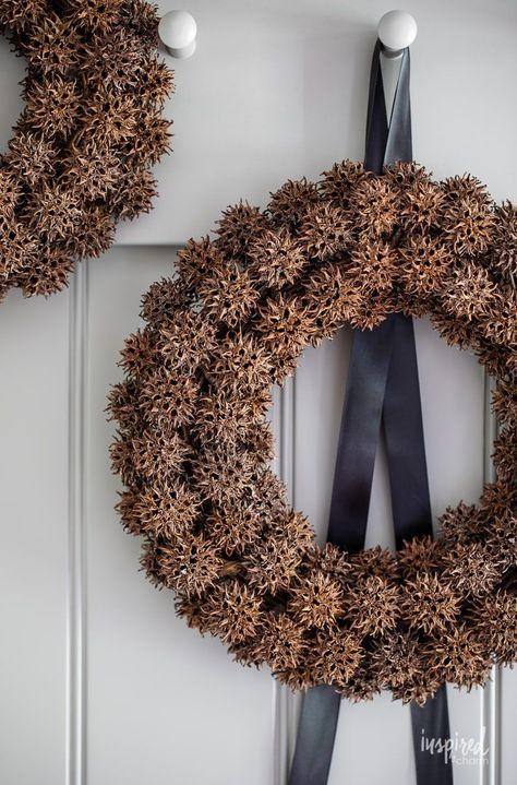 Foraged Fall Wreath with Sweetgum Balls #fall #decor #foraged #sweetgumballs #sweetgum #wreath #fallwreath #budgetdecor