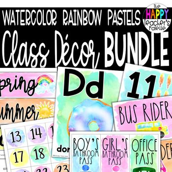 Watercolor Rainbow Pastels Classroom Decor Bundle Kindergarten