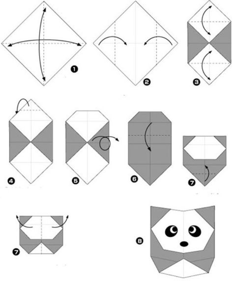 Simple origami for kids and their parents. Selection of funny and cute figures. Panda