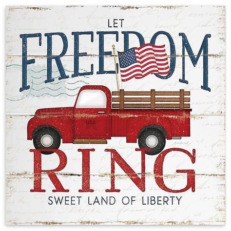 """Courtside Market """"let Freedom Ring"""" Fire Truck Canvas Wall Art Red/white/blue"""