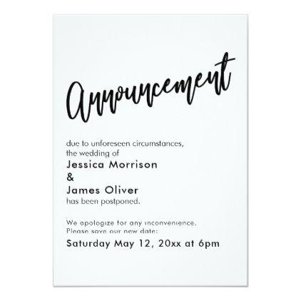 Black White Simple Postponed Wedding Announcement Zazzle Com