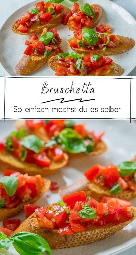 Knuspriges Bruschetta wie beim Italiener um die Ecke - aromatisch, lecker und mit bunten Tomaten. Super einfaches Rezept zum Selbermachen für Zuhause. #tomatenrezept #vorspeise #vegetarisch #italienisch