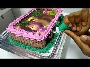 Decoração Minie E Mickey Com Papel De Arroz Na Lateral Confeitaria Refinada Youtube Torta De Masha Pastel Masha Y El Oso Masha Y El Oso