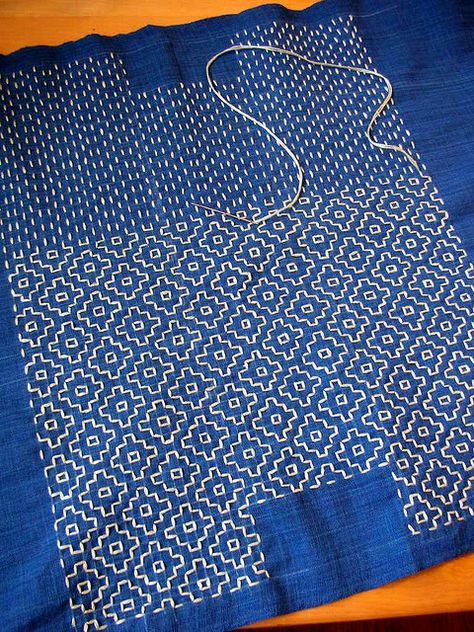 Sashiko in process - Traditional Japanese embroidery - geometric - white thread on indigo cloth Sashiko Embroidery, Japanese Embroidery, Cross Stitch Embroidery, Embroidery Patterns, Hand Embroidery, Embroidery Books, Embroidery Supplies, Art Patterns, Flower Embroidery