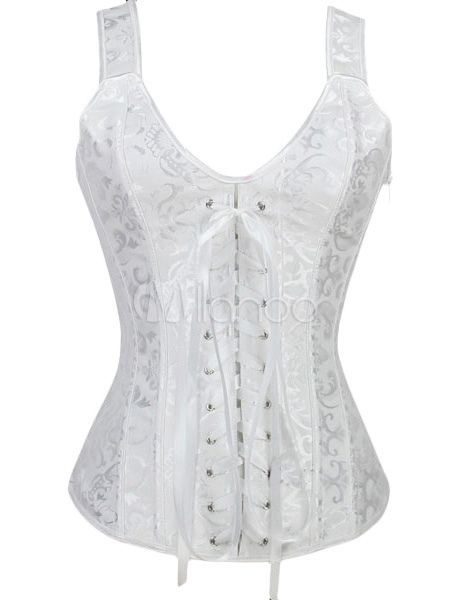 f3428313d07 White Bridal Corset Lace Up Overbust Wedding Corsets
