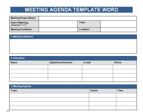 Get Free Meeting Agenda Template In Word    wwwcrunchtemplate - meeting agenda templates word