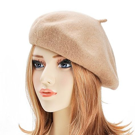 ZLYC Wool Beret Hat Classic Solid Color French Beret for Women by