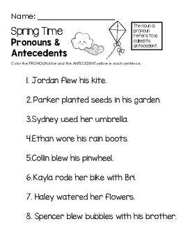 Spring Time Pronouns Antecedents Worksheet Worksheets