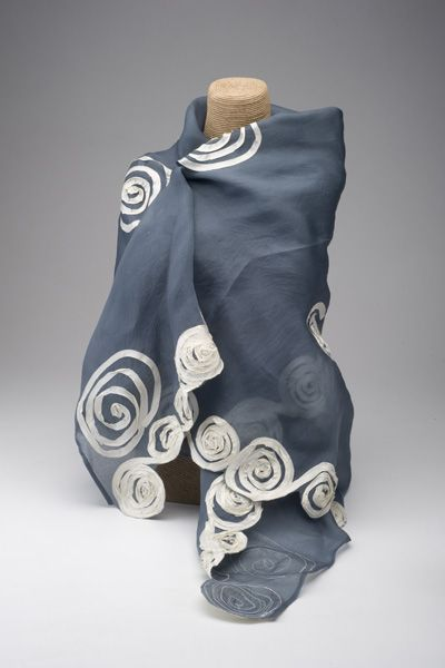 Our 100 Silk Organza Scarf Will Artistically Accessorize The Simplest Outfit Each Creamy Silk Swirl Is Hand Applied To The Graphite Echarpe Foulard