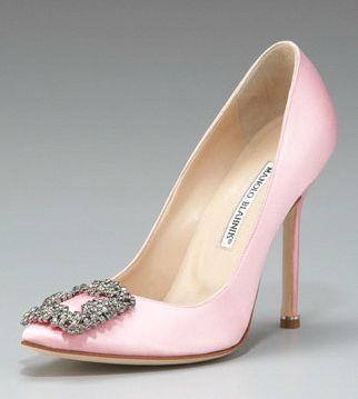 730b694a5 Manolo Blahnik Hangisi Satin Pump in Light Pink Carrie Bradshaw s wedding  shoe