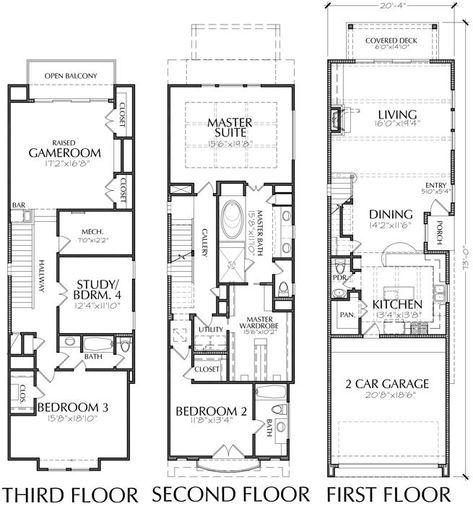 Three Story Townhouse Plan E1183 A1 2 Narrow House Plans Narrow Lot House Plans House Floor Plans