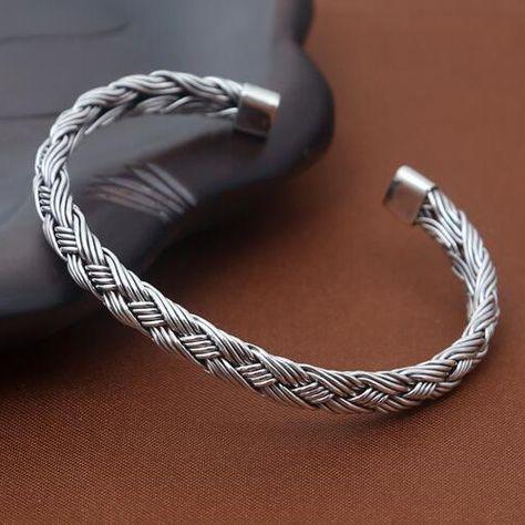 Sterling Silver Braided Cuff Bracelet Jewelry1000 Com Mens Jewelry Simple Silver Jewelry Bracelets For Men
