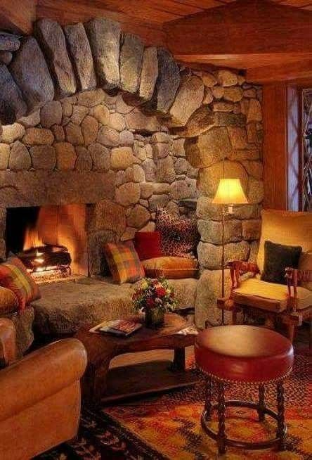 Rock Fireplace And Hearth Large Stones Home Fireplace Rustic House Log Homes