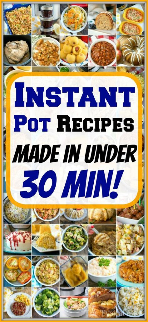 FAST Instant Pot recipes made in under 30 minutes! Great family friendly meals from The Typical Mom with chicken, beef or pork. Snacks and side dishes too. #instantpot #instantpotrecipes #quick #fast #easy #chicken #pork #beef #thetypicalmom