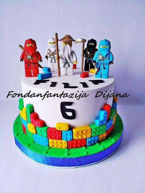 Lego Ninjago themed cake by Fondantfantasy Ninja Birthday Cake, Ninja Cake, Lego Birthday Party, 5th Birthday, Easy Lego Cake, Easy Minecraft Cake, Lego Ninjago Cake, Superhero Cake, Ninjago Party