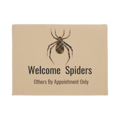 Plaid Spider Funny Welcome Doormat Zazzle Com In 2020 Spiders Funny Funny Doormats Personalized Door Mats