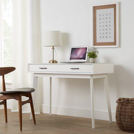 Mainstays Reeve Mid Century 2 Drawer Writing Desk White Finish Walmart Com Writing Desk With Drawers White Writing Desk Desk With Drawers