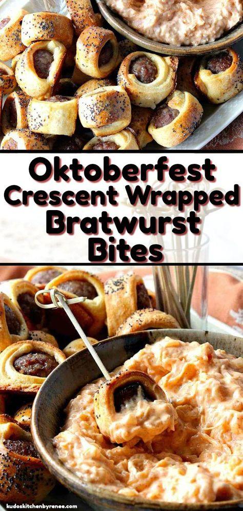 Oktoberfest Crescent Wrapped Bratwurst Bites with Sauerkraut Dipping Sauce - - Partiiiieeee! - Appetizers for party German Appetizers, Fall Appetizers, Appetizer Dips, Appetizer Recipes, Recipes Dinner, Dinner Ideas, Breakfast Recipes, Bratwurst Recipes, Oktoberfest Food