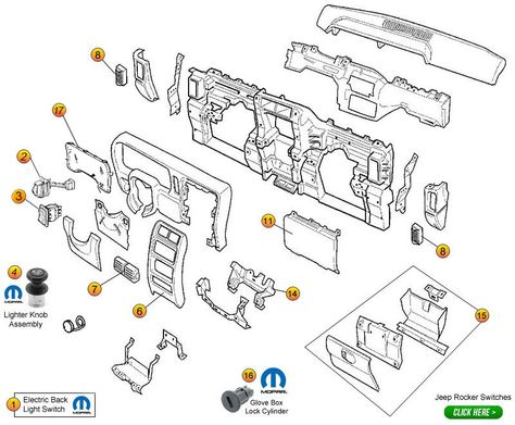 Instrument Panel Components for Cherokee XJ Cherokee XJ Parts
