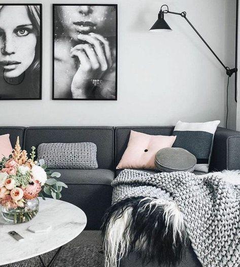 Ein Graues Sofa Rosa Kissen Weisse Wandfarbe Ein Weisser Runder Couchtisch W Rosa Kissen Graues Sofa Wandfarbe Weiss