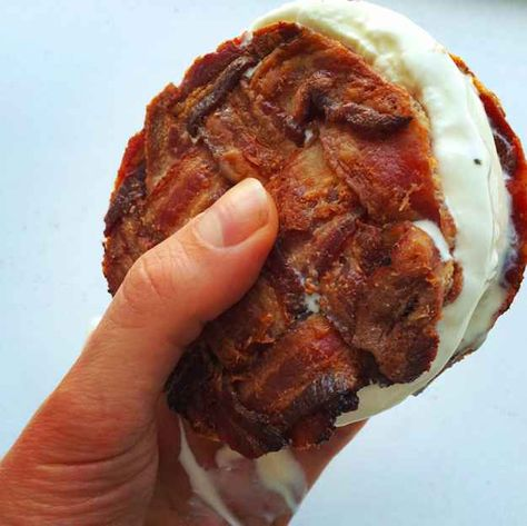 This BACON WEAVE ICE CREAM SANDWICH, though? This sandwich is The One. An ice DREAM sandwich, really.