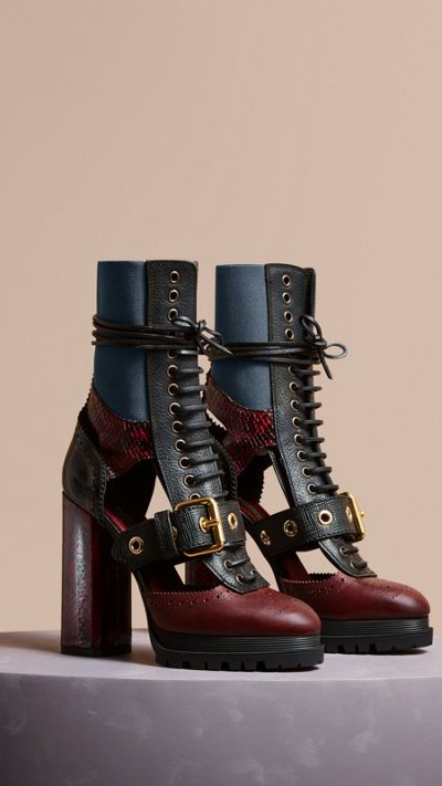 Burgundy red Leather and Snakeskin Cut-out Platform Boots 1