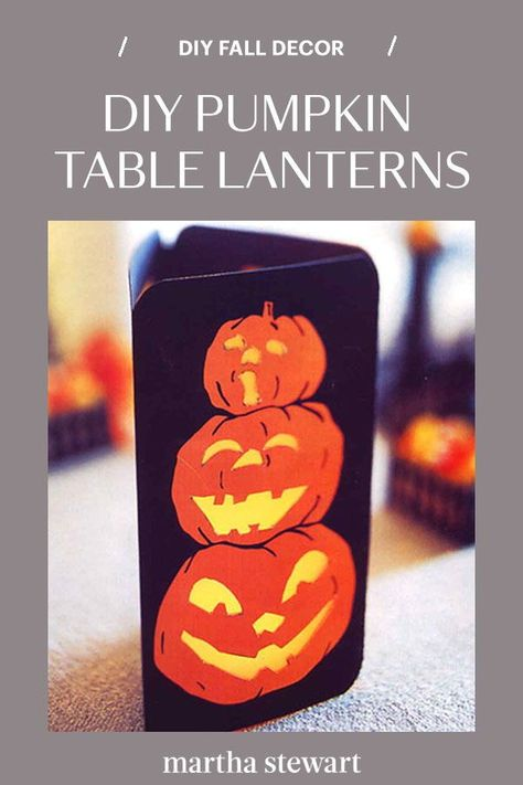 Decorate with our DIY pumpkin table lanterns that will add some spooky Halloween spirit to your home. Follow our pumpkin table lantern tutorial for the step-by-step directions for this easy fall decor idea along with other pumpkin crafts. #marthastewart #halloween #halloweendecor #diyideas #diyhalloween