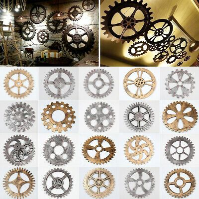 Details About Hanging Wooden Gear Wall Art Industrial Antique Vintage Home Bar Decoration Us Hanging Wall Decor Carved Wood Wall Art Decor Wood Wall Art Diy