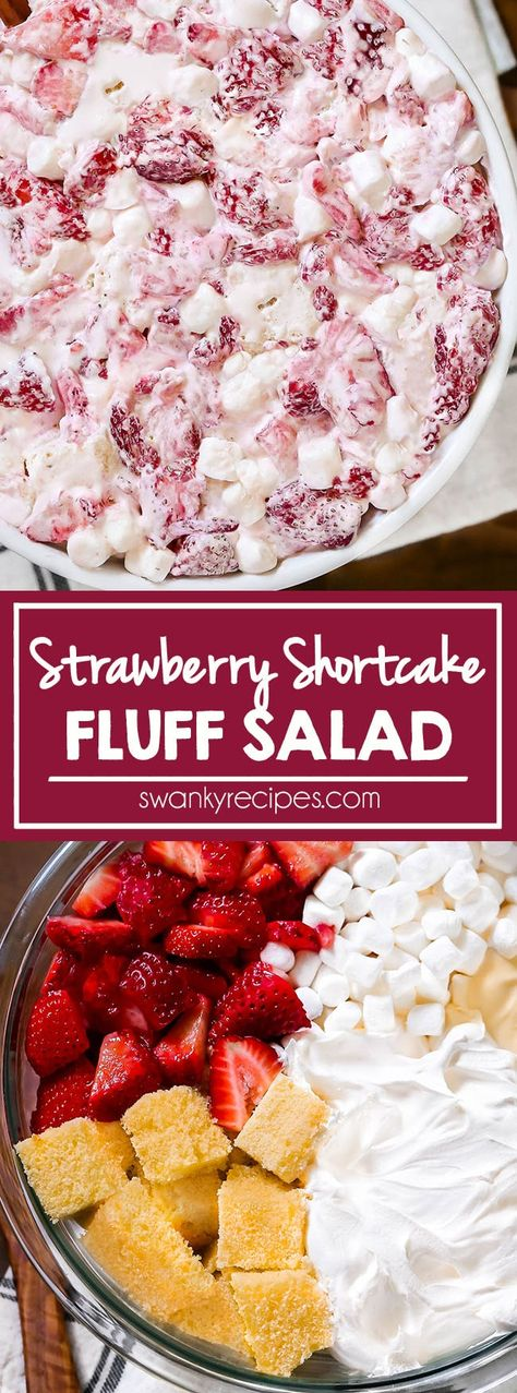 Strawberries sliced in a bowl and folded into a creamy mixture of whipped cream, sweetened condensed milk, mini marshmallows, and little chunks of pound cake. Fluff Desserts, Angel Food Cake Desserts, Köstliche Desserts, Delicious Desserts, Yummy Food, Summer Dessert Recipes, Dessert Salads, Fruit Salad Recipes, Potluck Recipes