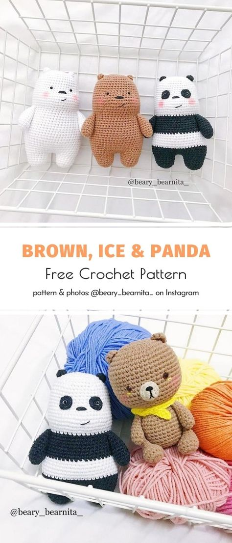 Crochet Bear, Cute Crochet, Crochet Crafts, Crochet Projects, Teddy Bear Crochet Pattern, Crochet Panda, Crochet Patterns Amigurumi, Crochet Dolls, Crocheted Toys