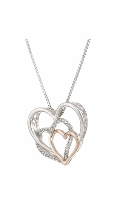 """Sterling silver high polished necklace featuring intertwined rose gold heart with diamond accent pendant. 18"""" Box Chain with Spring Ring clasp 14k rosed gold plated. All our diamond suppliers confirm that they comply with the Kimberley Process to ensure that their diamonds are conflict free #womensjewelryandaccessories#womenjewelry#Diamonds#Necklaces#DiamondNecklaces#NecklacePendants#DiamondNecklacesForWomen#DiamondPendants#affiliate"""