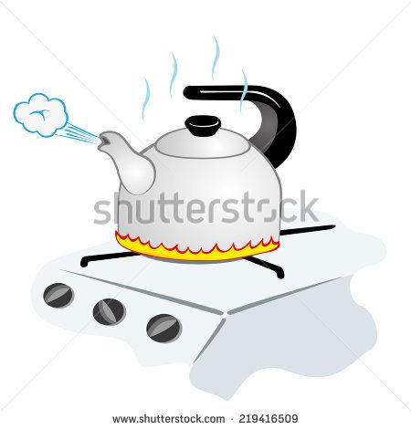 Illustration representing a kettle with boiling water on the fire Illustration Cartoon images Clip art