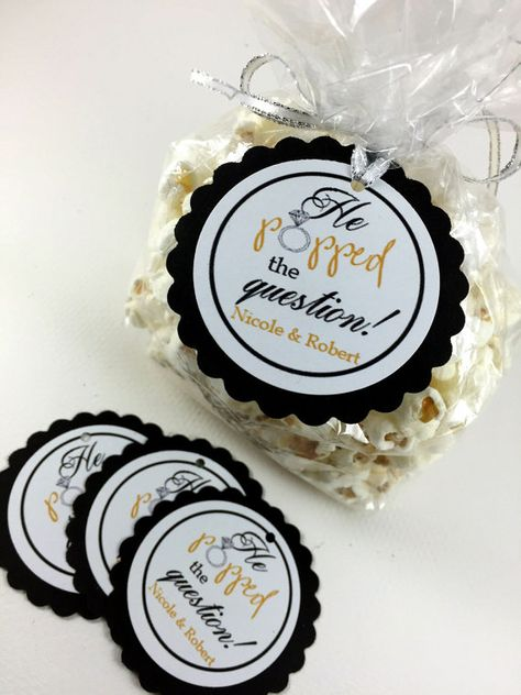20 Engagement Party Tags, Engagement Party Hang Tags, Engagement Favors, Popcorn Engagement Favors,