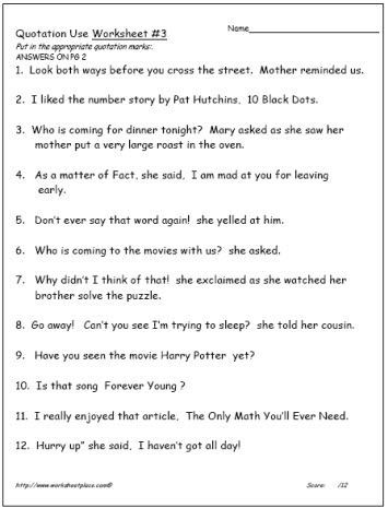 Quotation Marks Worksheet Review Quotation Marks Writing Lessons Teaching Writing Kindergarten Worksheets Sight Words Quotations Teaching Writing Punctuation worksheets grade 4