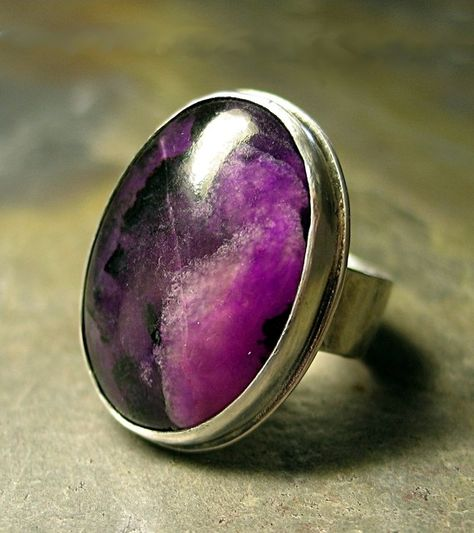 Lavender Cottage Jewelry — Artisan Ring in Sterling Silver and Sugilite - Plum Rustica