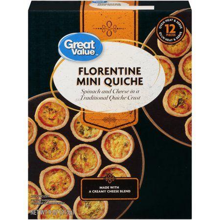 buy great value frozen florentine mini quiche 9 oz 12 count at walmart com mini quiche frozen mini quiche frozen appetizers pinterest
