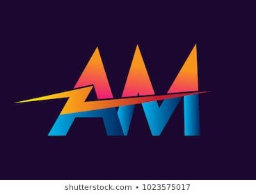 Letter Am Logo With Lightning Icon Letter Combination Power