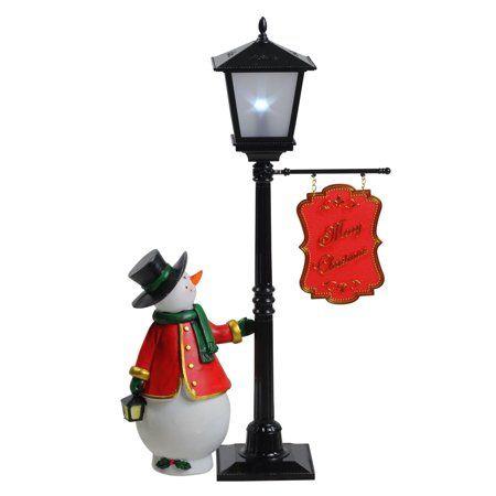 14 5 Mini Pre Lit Street Lamp And Snowman Christmas Table Top Display Walmart Com Street Lamp Christmas Lamp Table Top Display