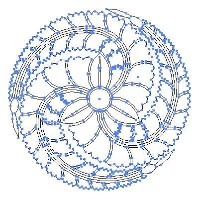 家紋 藤 の一種 黒田藤巴 のepsフリー素材作成時のアウトライン