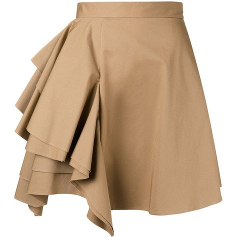34add996de MSGM ruffled front skirt ($380) ❤ liked on Polyvore featuring skirts,  brown, beige skirt, msgm, msgm skirt, brown skirt and brown cotton skirt