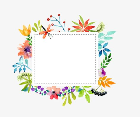 Watercolor Flowers Border Vector Material Manualidades Flores