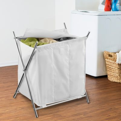 Honey Can Do Folding Triple Laundry Sorter With Cover Laundry