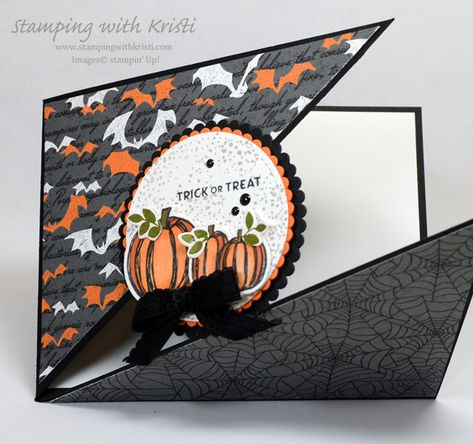 Stamping With Kristi - Kristi Gray, Stampin' Up! Halloween Pop Up Cards, Halloween Shadow Box, Halloween Scrapbook, Up Halloween, Halloween Coloring, Handmade Halloween Cards, Fun Fold Cards, Folded Cards, Fall Cards