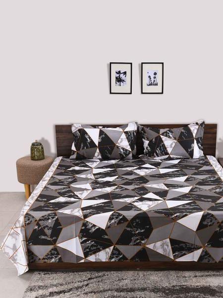 Adore 100 Cotton Black King Size Bedsheet 3 Piece Set Bed Sheets Bed Sizes Double Bed Size 100 cotton king size sheets