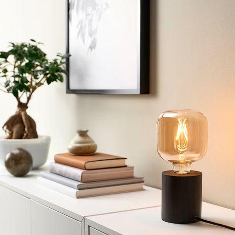 IKEA - LUNNOM LED bulb E26 80 lumen, tube-shaped brown clear glass