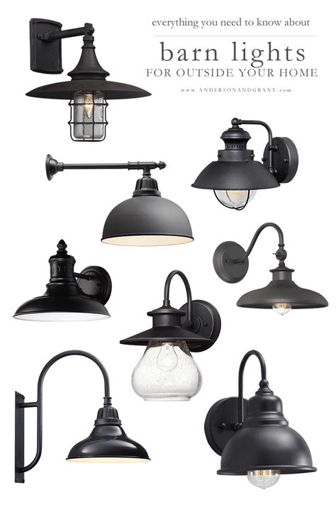 Everything you need to know about shopping for outside barn lights to hang on your modern farmhouse or industrial style home including what will work for your space and where to buy them. Industrial Light Fixtures, Industrial Lighting, Modern Lighting, Industrial Style, Outdoor Lighting, Lighting Design, Outdoor Farmhouse Lighting, Rustic Lighting, Outdoor Walls