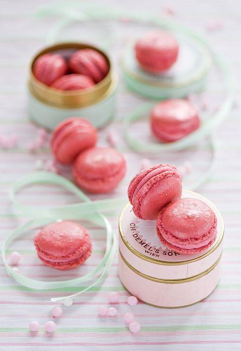Pink macarons as wedding favors.